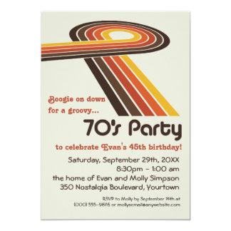 Groovy Stripes 70s Party 13 Cm X 18 Cm Invitation Card