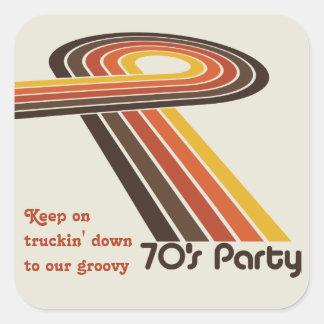 Groovy Stripes 70s Square Sticker