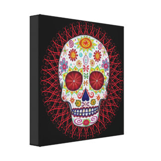 Groovy Sugar Skull Art Canvas Print