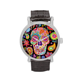 Groovy Sugar Skull Watch - Day of the Dead Art