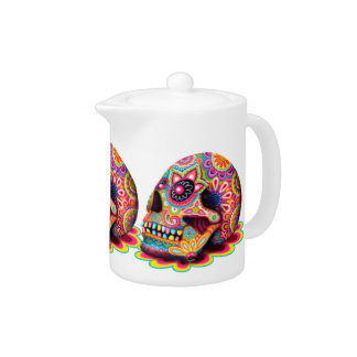 Groovy Sugar Skulls Teapot - Day of the Dead Art