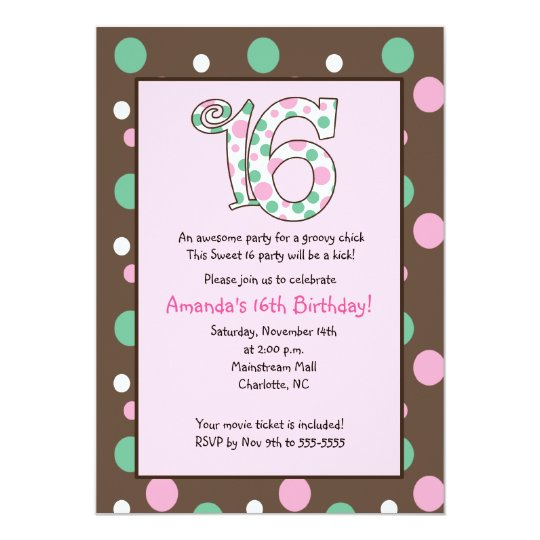 GROOVY Sweet 16 Sixteen Birthday Party Card