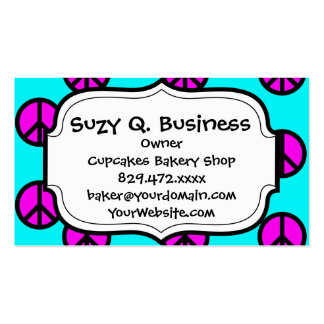 Groovy Teen Hippie Teal and Purple Peace Signs Business Cards