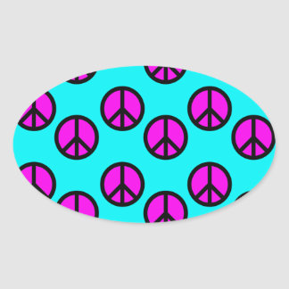 Groovy Teen Hippie Teal and Purple Peace Signs Oval Sticker