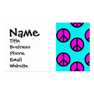 Groovy Teen Hippie Teal and Purple Peace Signs Pack Of Standard Business Cards