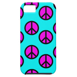 Groovy Teen Hippie Teal and Purple Peace Signs Tough iPhone 5 Case