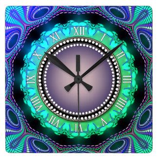 Groovy Time Aqua Green Purple Wall Clock
