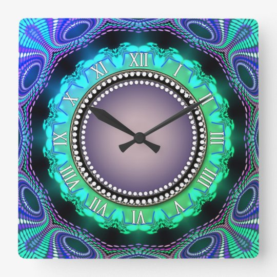 Groovy Time Aqua Green Purple Wall Clock