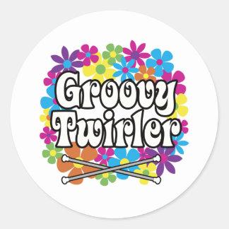 Groovy Twirler Round Stickers