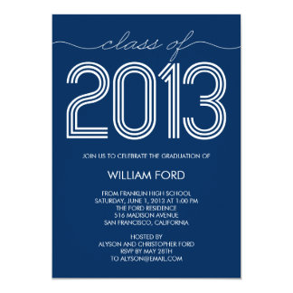 Groovy Year Graduation Invitation - Navy Personalized Invitations