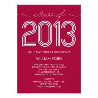 Groovy Year Graduation Invitation - Raspberry Announcement