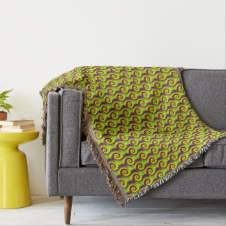 Groovy Yellow Brown Swirl Abstract Throw Blanket