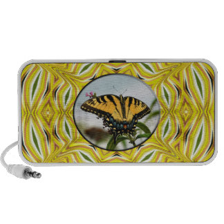 Groovy Yellow Butterfly Doodle Mini Speakers