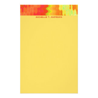 groovy yellow orange stationery