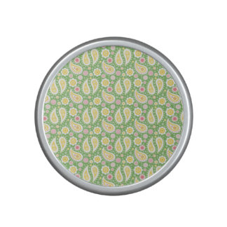 Groovy Yellow Paisley on Spring Green Speaker