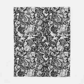 Grotesque Garden Black and White Fleece Blanket