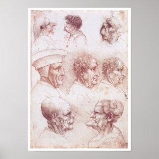 Grotesque Heads, Leonardo da Vinci Poster