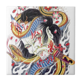 Grotesque & Snake Tattoo Design Tile