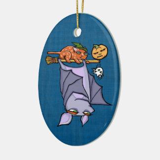 Grouchy Bat Cat Halloween Oval Ornament