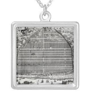 Ground Plan of Canton, China Silver Plated Necklace