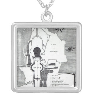 Ground plan of the Vatican, Rome Silver Plated Necklace