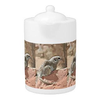 Ground Squirrel in Cartoon Tea Pot