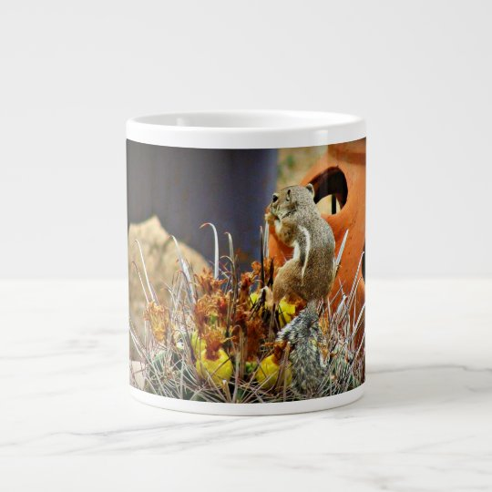 Ground Squirrel on Fish Hook Cactus Large Coffee Mug