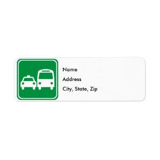 Ground Transportation Highway Sign Return Address Label