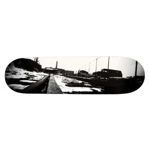 Ground View Of Rail Road Tracks Skateboard