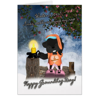 Groundhog Day Card - Cute Sleepy Groundhog Card
