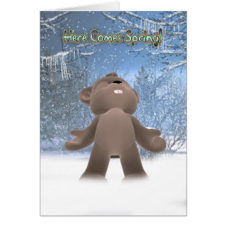 Groundhog Day Card - Here Comes Spring
