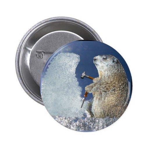 Groundhog Day Ice Sculpture 6 Cm Round Badge