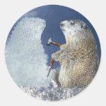 Groundhog Day Ice Sculpture Classic Round Sticker