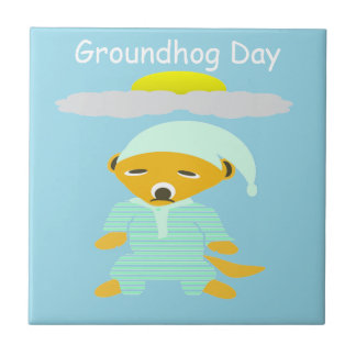 Groundhog Day Small Square Tile