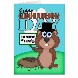 Groundhog Day With Cute Cartoon Groundhog Card