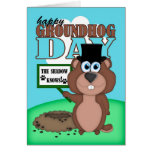 Groundhog Day With Cute Cartoon Groundhog Greeting Card