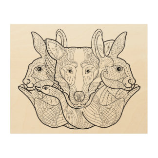 Group Animal Doodle 5 Wood Print