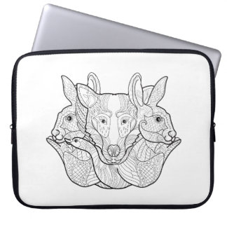 Group Animal Doodle Laptop Sleeve