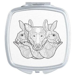 Group Animal Doodle Makeup Mirrors