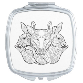 Group Animal Doodle Travel Mirror