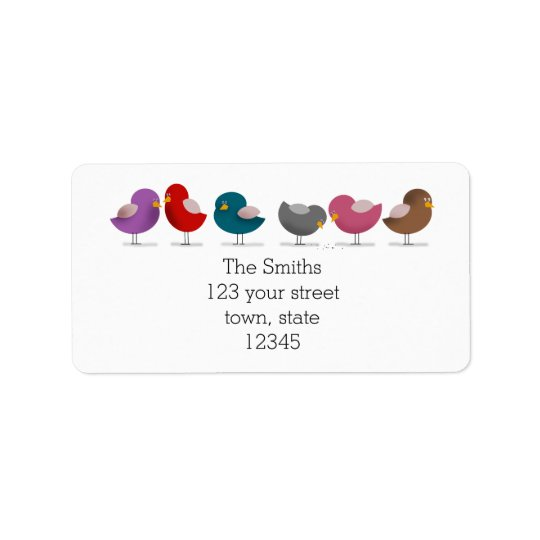 Group Birds Cartoon Family Friends Simple White Address Label