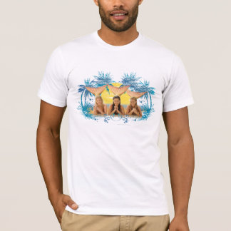 Group Blue Palm Tree Graphic T-Shirt