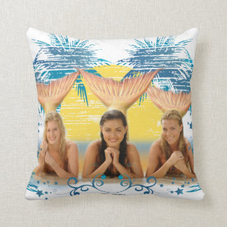 Group Blue Palm Tree Graphic Throw Pillow