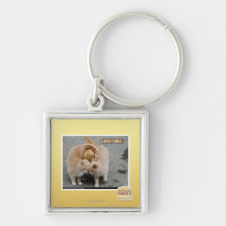 group hug Silver-Colored square key ring