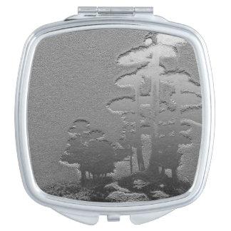 Group of Bonsai Trees in Metallic Gray Travel Mirrors