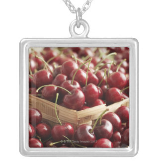 Group of cherries in punnett silver plated necklace