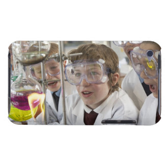 Group of children (9-12) watching experiment in barely there iPod case