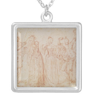 Group of Comic and Tragic Actors Silver Plated Necklace