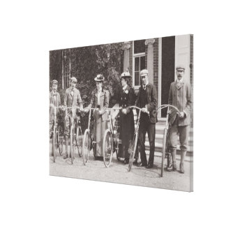 Group of Edwardian bicyclists, early 1900s (b/w ph Gallery Wrap Canvas