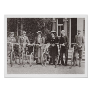 Group of Edwardian bicyclists, early 1900s (b/w ph Poster